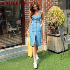 79e45cb3618 YMOJNV 2019 Sexy Sleeveless Backless Bow Tie Strap Jeans Dress Women  Single-Breasted Pocket Denim