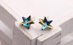 Swarovski Stone Purple and Blue Crystal Star Earring, Cute Jewelry, Korean Girls Accessory