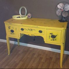 painted yellow and distressed