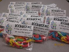 Cute end of year gift - Bookworms. Use the topper as a bookmark??