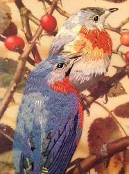 BEAUTIFUL Framed Bluebird Embroidery Hand Stitched Lightweight Needlepoint
