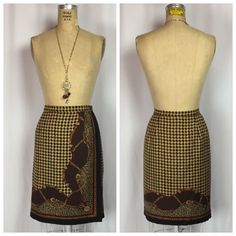 TALBOTS 100% Silk Equestrian Baroque Toile print Houndstooth Wrap Skirt. 14  | eBay