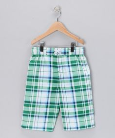 Take a look at this Green Plaid Boardshorts - Infant, Toddler & Boys by iXtreme Swimwear on #zulily today!