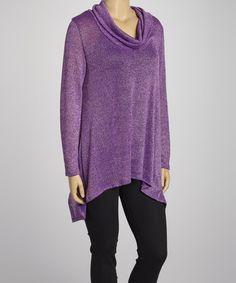 Look at this #zulilyfind! Purple Cowl Neck Sweater - Plus #zulilyfinds