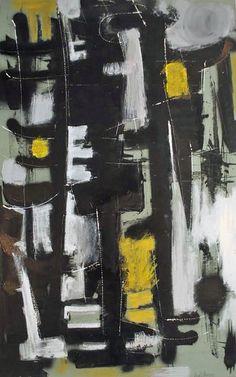 Dusti Bonge, Untitled (black white and yellow totems)