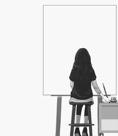 The beauty of an empty canvas is the greatest and most amazing creation, so many countless and limitless colors to create a symphony of life Empty Canvas, Blank Canvas, Image Manga, Poses References, Kaneki, Manga Girl, Anime Girls, Cute Art, Art Girl