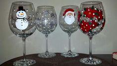Custom order winter/Christmas wine glass set!