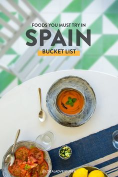 Looking for the best type of food to eat in Spain? Here's our food bucket list on what to eat in Spain. How many have you tried? // Local Adventurer #localadventurer #spain #spaintravel #europetrip #foodandtravel #eattheworld #bucketlisttravel Travel Tips For Europe, Best Travel Guides, Best Places To Eat, Cool Places To Visit, International Travel Tips, Airplane Travel, Food Journal, Adventurer, Spain Travel