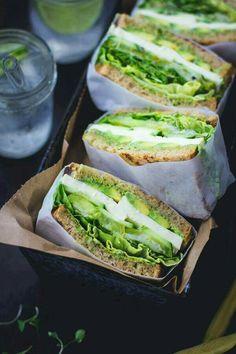 Avacado, Cucumber, Panela Cheese, Green Leaf Lettuce & Wheat Bread