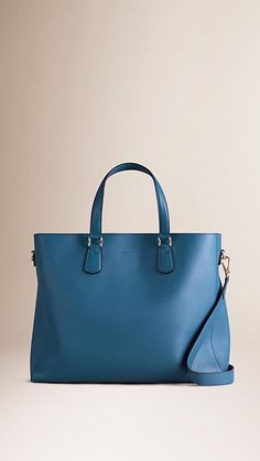 Mineral blue Grainy Leather Tote Bag - Image 1