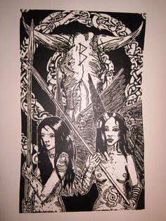 B-aar. Linoleum carving print