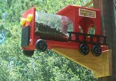 Fire Truck Squirrel Feeder. $40.00, via Etsy.