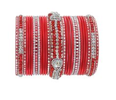Red and silver bangle set-1896�[Regular Price:                                    $50.00                                                                    Now only:                                    $25.00]