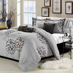 Queen size 8-Piece Comforter Set in Silver Gray Black Brown Floral - Quality House