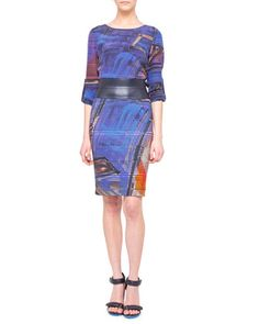 Graffiti-Print Silk Blouse and Pencil Skirt by Akris punto