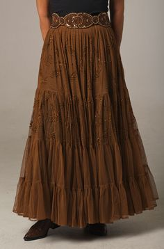 Ann N Eve Copper Color Beaded Skirt Formal Western Wear Modest Outfits, Skirt Outfits, Classy Outfits, Modest Fashion, Fashion Outfits, Western Outfits Women, Western Wear For Women, Western Dresses, Equestrian Outfit