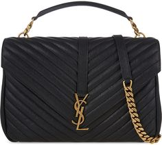 YSL. Selfridges, London. SAINT LAURENT Monogram collège leather satchel.  Black or Navy with gold hardware.  Chic and classy.