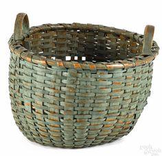 Pennsylvania split oak basket, 19th c., retaining an old green surface, 10'' h., 12 1/2''