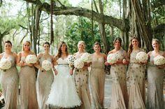 Gold sparkle bridesmaid dresses | photo by Kallima Photography | http://www.100layercake.com/blog/2013/07/15/elegant-florida-art-museum-wedding-heather-carson/