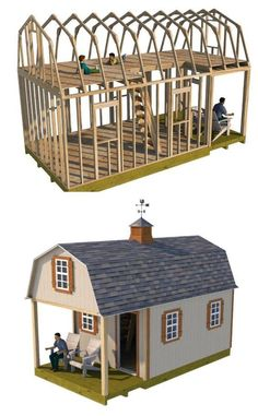 Build your small cabin with these online shed building guides. #playhousebuildingplans