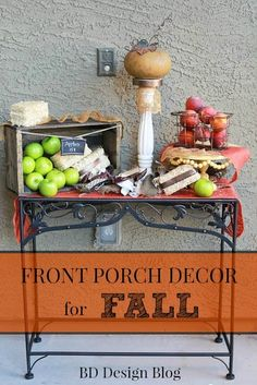 Use vibrant colors and textiles to create an eye catching PORCH DISPLAY. www.bddesignblog.com #fall #porchideas #homedeor
