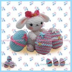 This cute Bunny comes with cozy cases that you can stuff or fill them  with you favorite surprise chocolate eggs or your painted cute eggs...