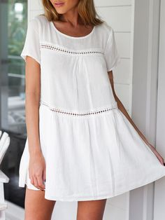 White+Short+Sleeve+Shift+Dress+14.99. reviews say it's see through and thin material