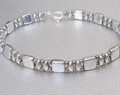 SALE green tila wrap bracelet bead bracelet superduo by beadnurse by Silver Penny Artisans