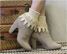 lace sock, lace socks, cuffs sock, boot socks, ankle, Signature Lace Sock Ivory | SLC2