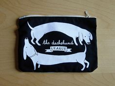The Dachshund League TWO DOGS Purse / White on by julietteenrose, €12.00