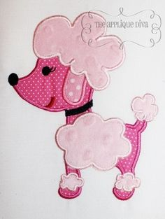 Paris Pink Poodle Embroidery Design Machine by theappliquediva, $2.99