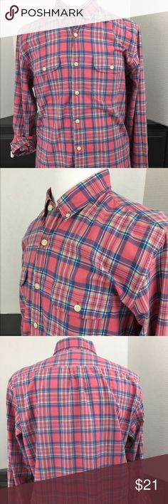 "J. CREW Casual Button Up Madras Shirt Large J. CREW Casual Button Up Shirt 100% Cotton Mens Regular Size L Like New Buttoned Front Soft Pink with multi colored pattern  Long Sleeve 2 Front Pockets (Layed Flat Measurements below) Collar 16 1/2"""" Chest 22"" Waist 21"" Shirt Length 30 3/4"" Shoulders 19 3/4"" Pet and Smoke Free Home Gently used Like New J. Crew Shirts Casual Button Down Shirts"