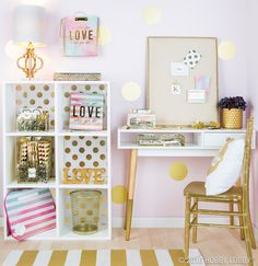 Modern office style medium size trendy dorm decor ideas for back to school office lobby design My New Room, My Room, Gold Bedroom, Bedroom Decor, Dorm Room Organization, Lobby Design, Big Girl Rooms, Dorm Decorations, Office Decor