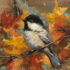"Daily Paintworks - ""Fall Chickadee"" - Original Fine Art for Sale - © Krista Eaton Bird Painting Acrylic, Bird Paintings On Canvas, Bird Artwork, Autumn Painting, Watercolor Bird, Acrylic Art, Animal Paintings, Painting & Drawing, Watercolor Paintings"