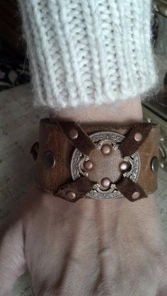 Unisex Brown Leather cuff bracelet Adorned with a by AlynneDesigns, $29.00