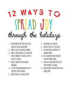 12 Simple Ways to Spread Joy through the Holidays | Random Acts of Kindness Ideas