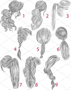 Ponytail Vector Hairstyles Set # Braids # Loose # Inspiration # Perfect, Ponytail Vector Hairstyles Set # Braids # Loose # Inspiration # Perfect, There's really no disadvantage to flipping via a springtime head of hair pattern report. How To Draw Braids, How To Draw Hair, Ponytail Drawing, Braid Drawing, Drawing Hair Tutorial, Perfect Ponytail, Loose Ponytail, Loose Braids, Braid Hairstyles