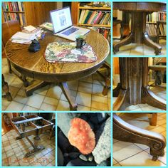 Island Rustic: English Round Oak Table change up...frugal,thrifty, thrift store, picker