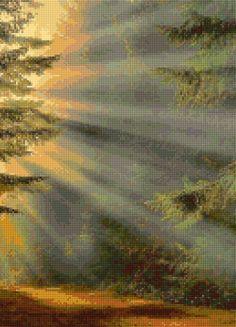 Sacred Forest Sunrays Cross Stitch pattern PDF  Instant