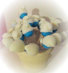 Colheres em acrílico para doces, brigadeiro com decoração em biscuit do tema Smurfs. R$0,80