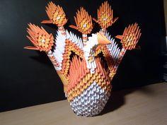 Modulárne (3D) origami.  Elegantný oranžový páv. Modular D origami. Elegant orange peacock- handmade :)