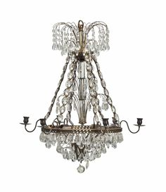 A GILT METAL AND CUT GLASS SIX-LIGHT CHANDELIER, LATE 20TH CENTURY