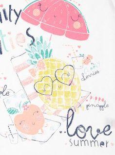 ab7960d70 Girls White Fruity Cuties Top (9 months-5 years) Desenhos Bonitinhos