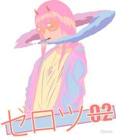 'Zero 2 Blazed - Vaporwave / anime' Sticker by Ojouka Tv Head, Zero 2, Wave Art, Anime Stickers, Darling In The Franxx, Moon Child, Soft Grunge, Manga, Vaporwave