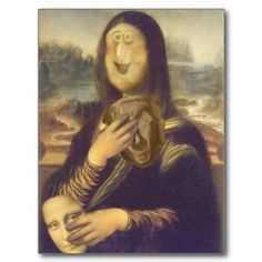 Sold!  Mona Lisa Undecided Postcard by #SpoofingTheArts  shipping to  Mont-sur-marchienne, Belgium