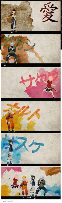 <3 Kakashi, Sasuke, Sakura & Naruto (Team Kakashi / Team 7) & Gaara