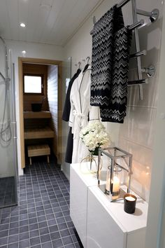 Homevialaura | monochrome bathroom decor | sauna | home spa | Missoni Home towels | Balmuir | Be & Liv