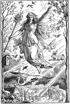 """Ostara"" by Johannes Gehrts. The goddess Ēostre/Ostara flies through the heavens surrounded by Roman-inspired putti, beams of light, and animals. Germanic peoples look up at the goddess from the realm below. Books Art, Vernal Equinox, Easter Traditions, Irish Traditions, Sabbats, Beltane, Gods And Goddesses, Ancient Goddesses, Occult"