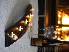 Oak wine barrel stave candle holder