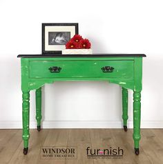 Vintage Handpainted Console Table With Drawer in Green and Black